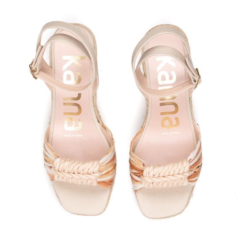 High sandals in blue jute