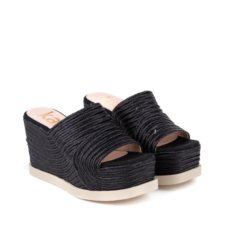 Sandalias altas de yute beige