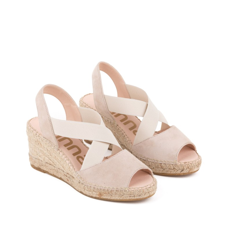 Sandal with silver wedge